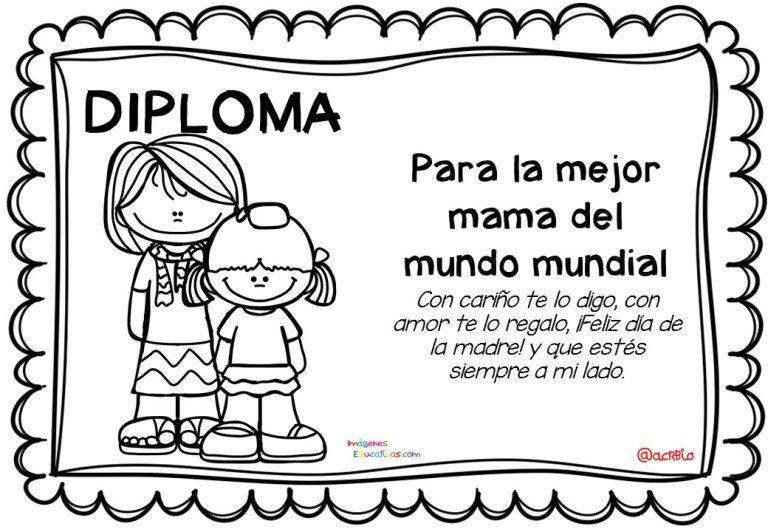 Diplomas Para Colorear Del Dia De Las Madres 10 De Mayo 1 Diplomas Dia Del Padre Diplomas Para Mama Regalos Aniversario Para El