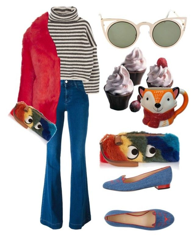 """""""☕"""" by ana-aleta ❤ liked on Polyvore featuring Anya Hindmarch, STELLA McCARTNEY, Betsey Johnson, Topshop, Wilton, Charlotte Olympia and St. Nicholas Square"""