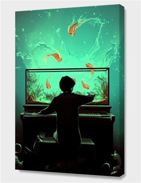 «Le Pianoquarium» Canvas Print by Cyril Rolando - Aquasixio - Numbered Edition from $59 | Curioos