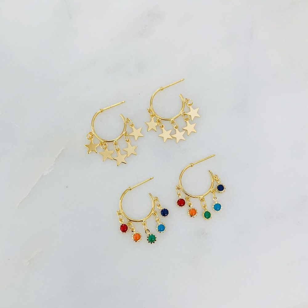 Mini charm hoops is part of Cute jewelry, Fashion jewelry, Mini charm, Jewelry, Jewels, Dainty jewelry - Nickel free hoops  Your choice of charm  Gold plated over brass   16mm hoops