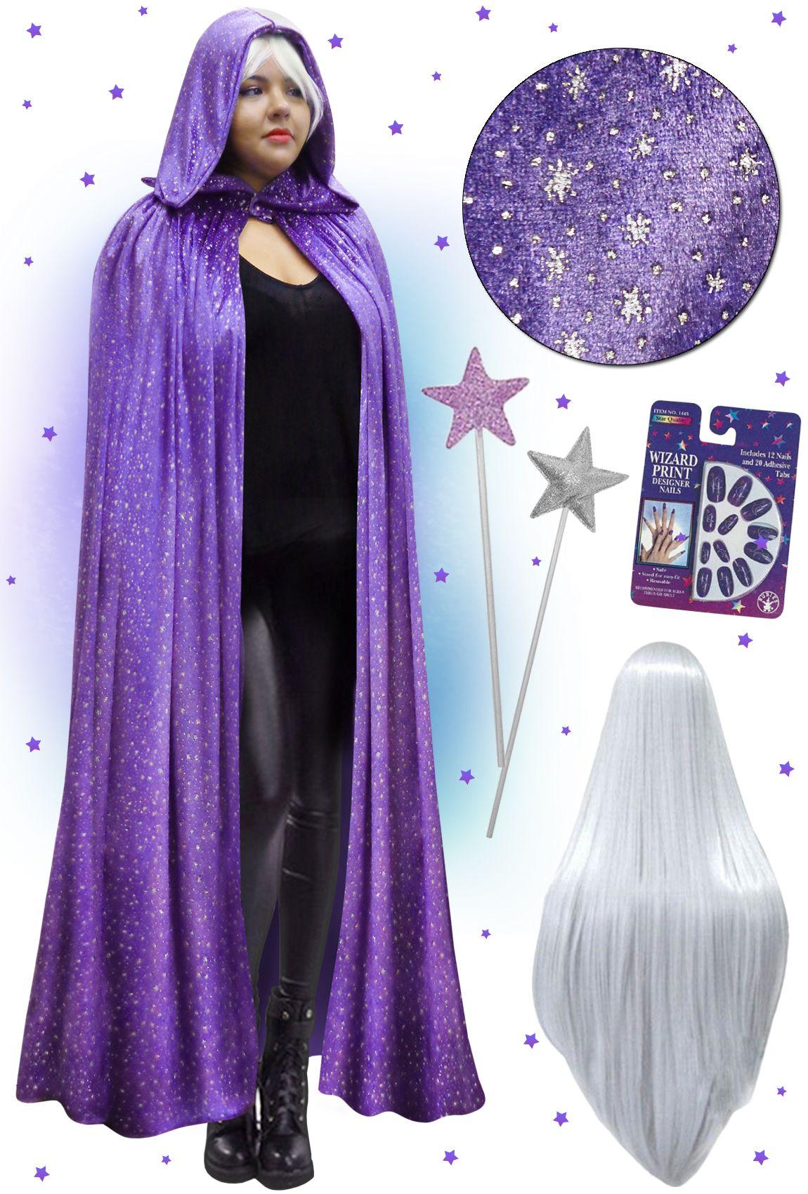 NEW! Plus Size Purple Wizard Hooded Cape Halloween Costume