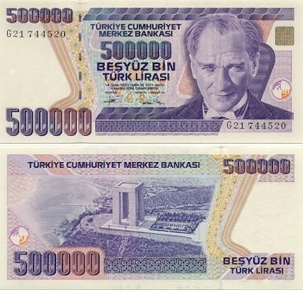 Turkey 500000 Lira Ataturk Canakkale Martyrs Monument Bank Notes Banknote Collection Paper Currency
