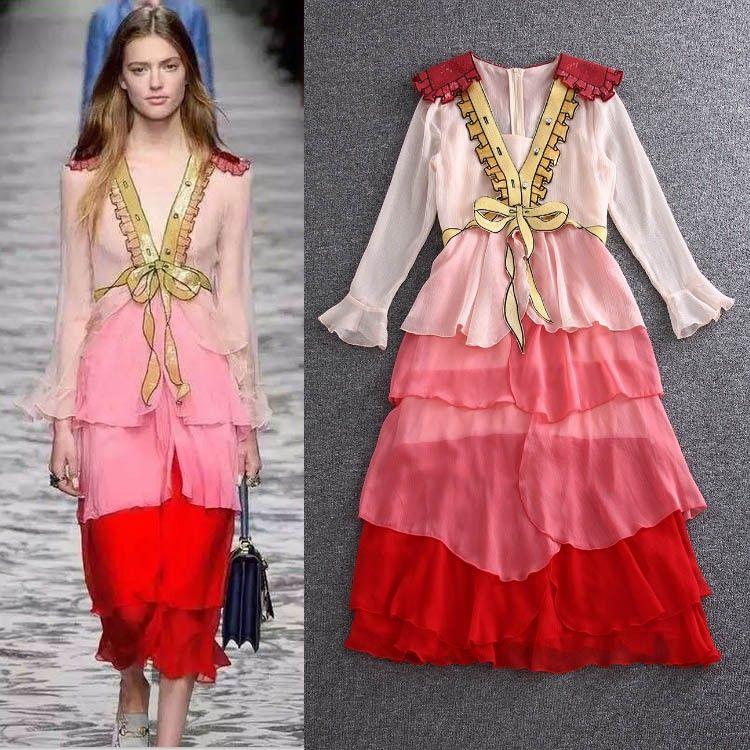 sexy 2016 luxury brand designer dresses women s long sleeve one piece dress  fashion trending runway dress ruffles beading pink 0e480ed58