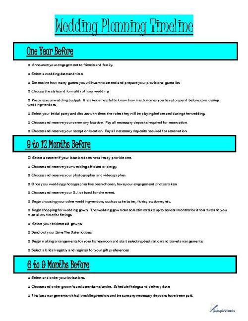 Wedding Planning Timeline Organizer Wedding Planning Timeline - Wedding planner timeline template