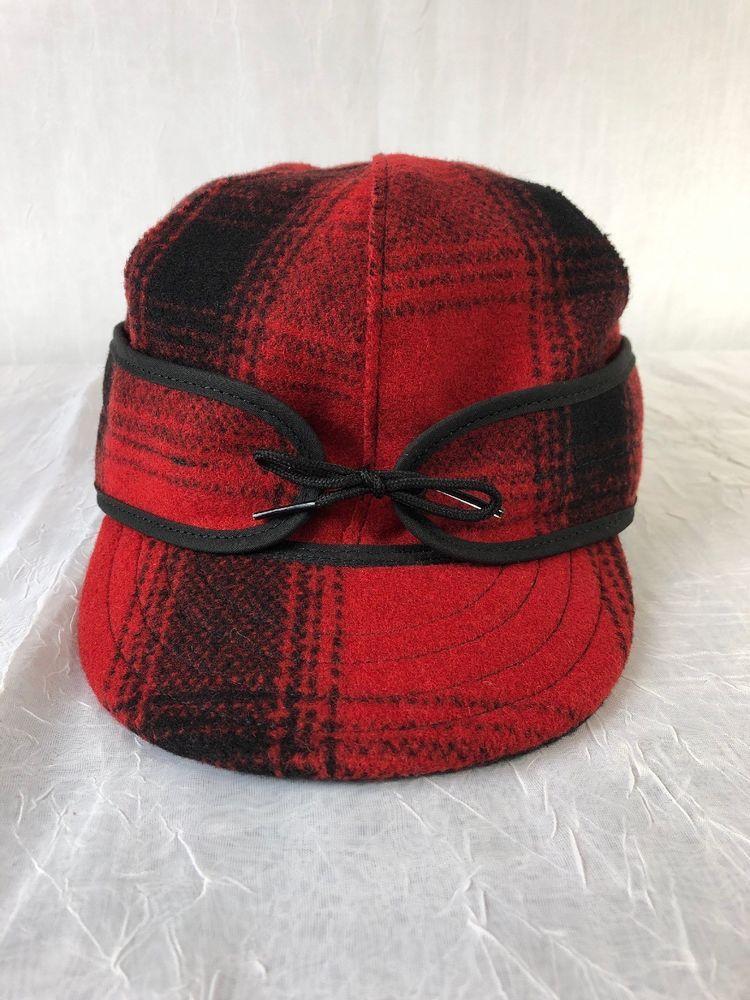 7 1 4 Original Men s Stormy Kromer 80% Wool Hat Red Black Plaid Made ... f19bc2319d22