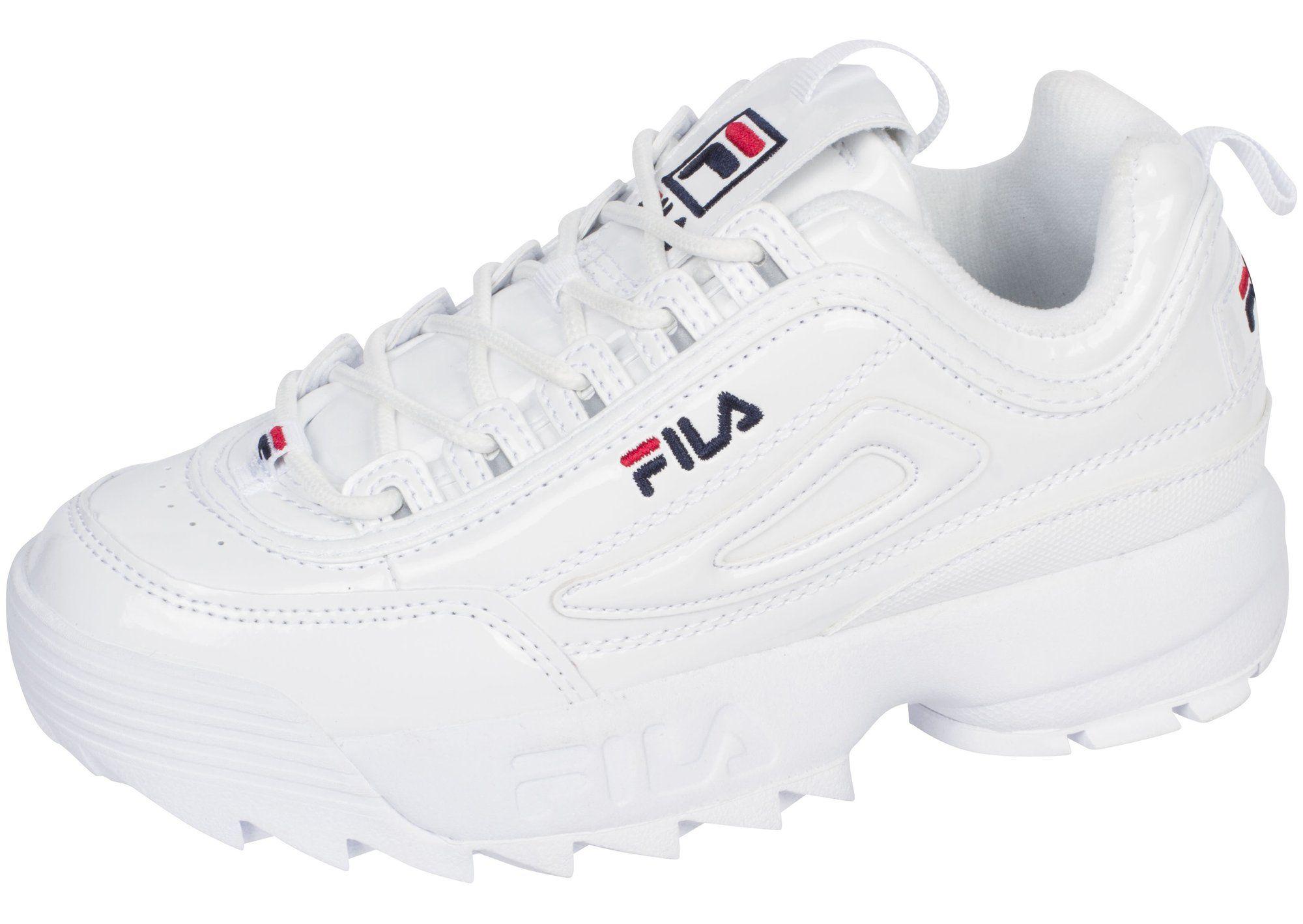 FILA Womens Disruptor II Premium Patent White Fila Navy Fila