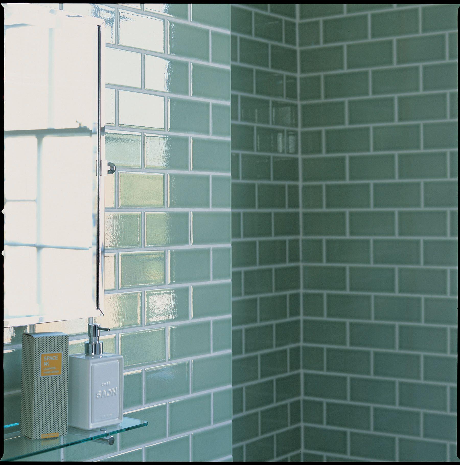 Green bathroom tiles