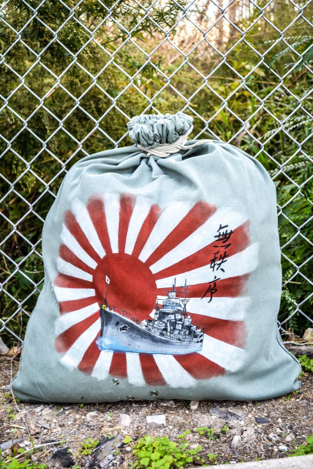 Vintage Wwii Hand Painted Military Laundry Bag Empire By