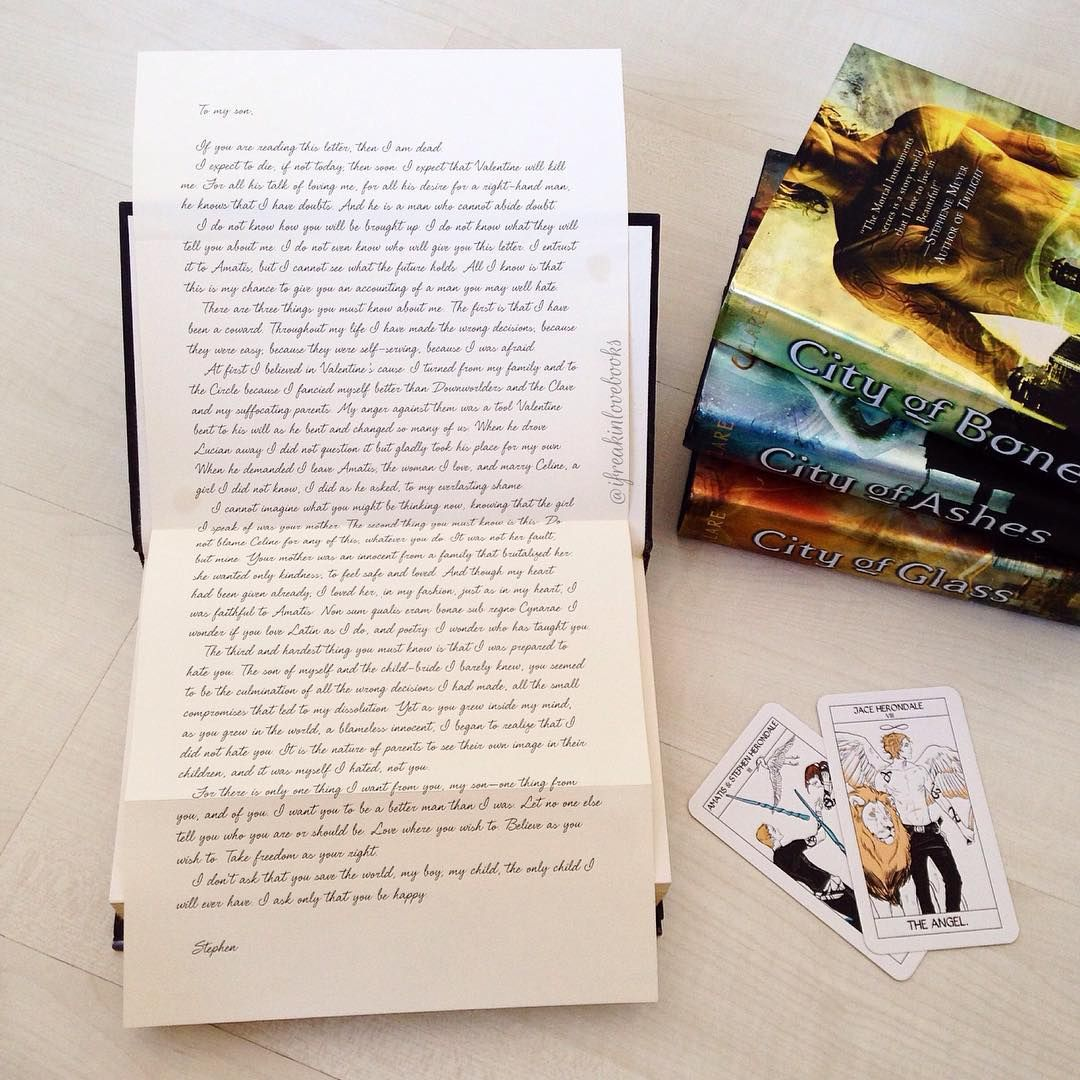 The Mortal Instruments - This is the letter Stephen Herondale wrote for Jace just just before The Rising.