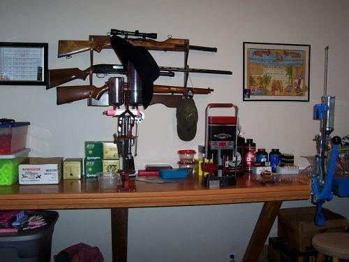 Outdoorsman Man Cave Decor : Outdoorsman man cave with gun rack gunsmith work station