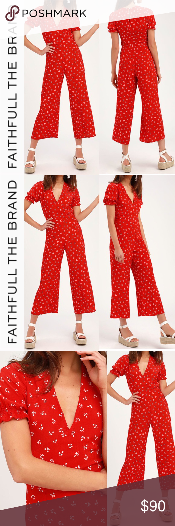 388bb59a2378 Faithfull the Brand Red Print Jumpsuit The Faithfull the Brand Mallory Red  Print Short Sleeve
