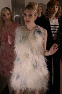 "This unusual pile of feathers which somehow look totally awesome. | 19 ""Scream Queens"" Outfits That Are Fierce As Hell"