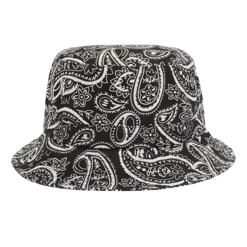 bf8b0cf58b7 BLACK New Summer Designer Bucket Hats For Women Black Bucket Hat Cotton  Paisley Black White Baseball