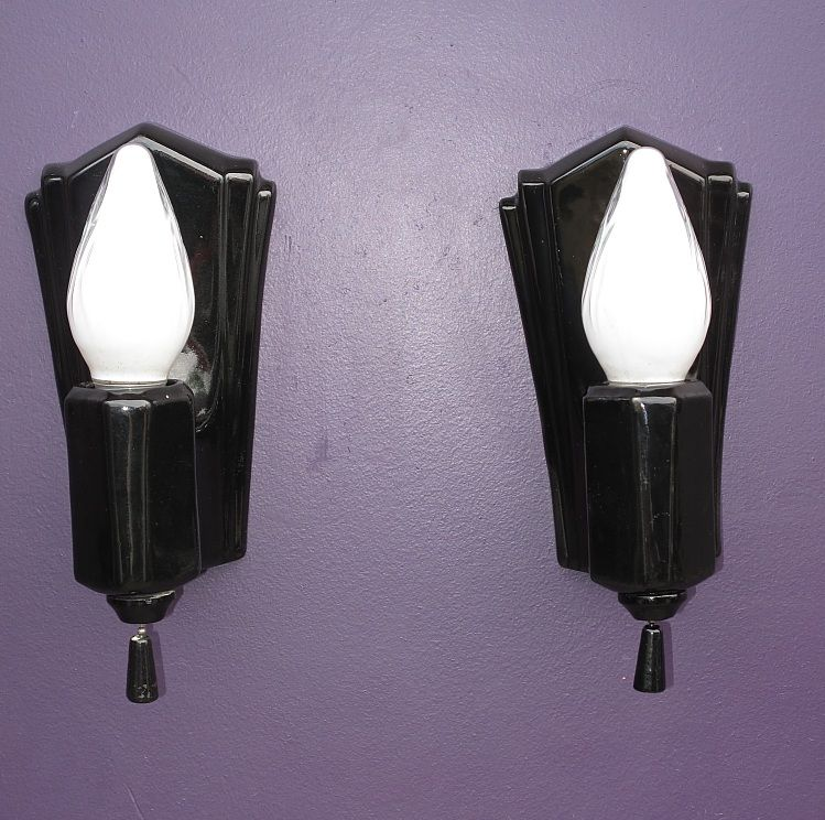 Classic Black Porcelain Wall Sconces Deco Inspired 1930s