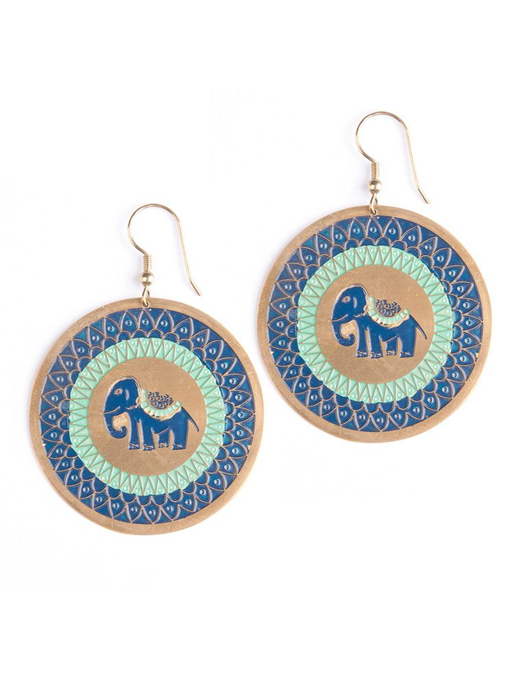Treasure Trunk Earrings Blue by Mata Traders. Super cute ethical fashion jewelry. Mata Traders is a design driven, fair trade brand helping to end global poverty and inspire ethical companies and consumers to change the fashion industry. Made by artisans in India and Nepal.