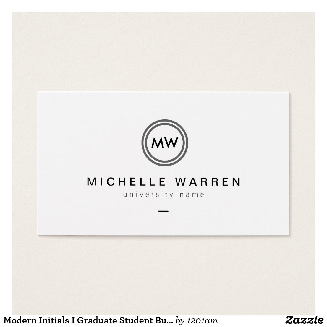 Modern Initials I Graduate Student Business Card Zazzle Com Examples Of Business Cards Student Business Cards Business Card Template