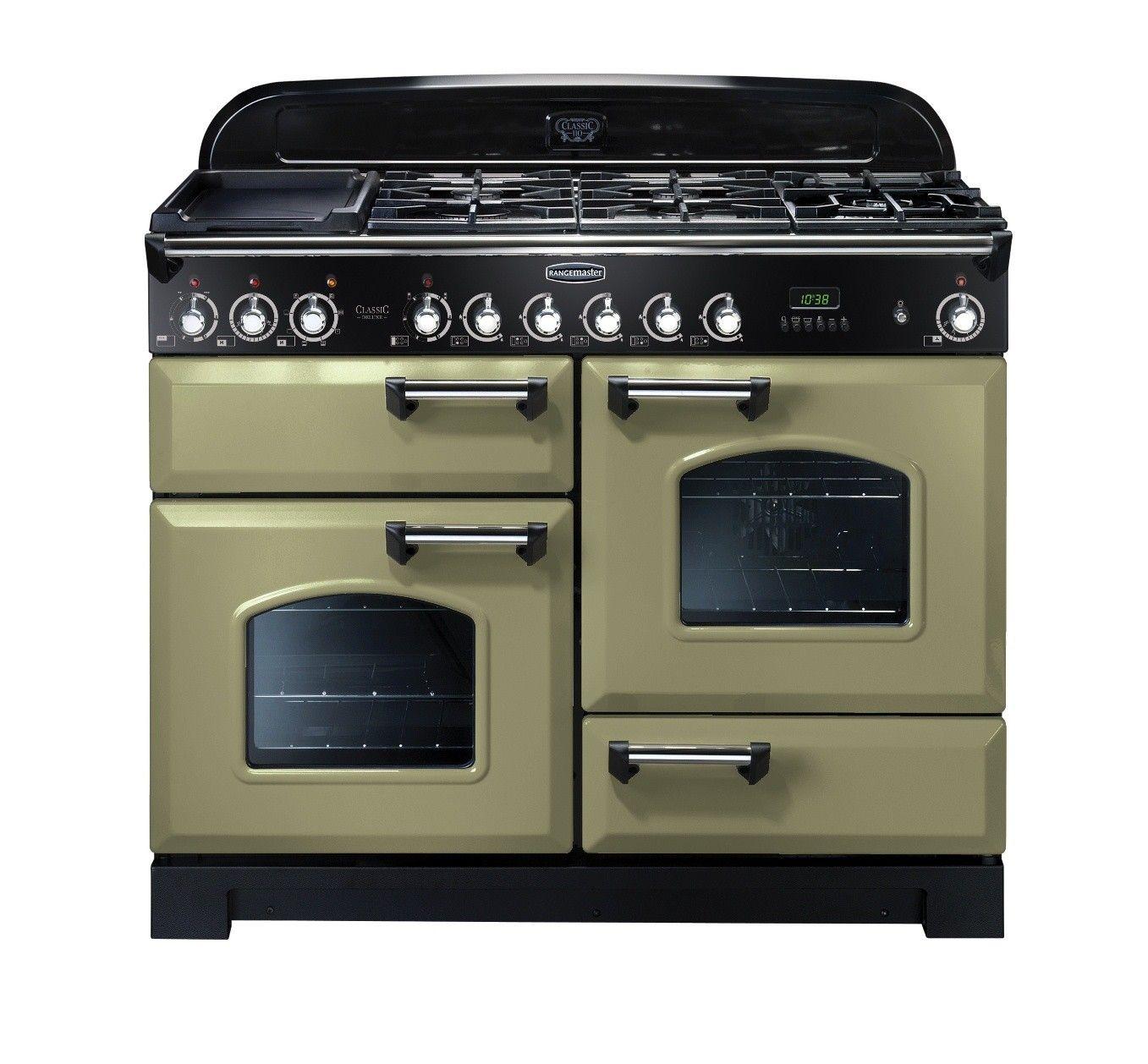 rangemaster classic deluxe 110 dual fuel range cooker olive green