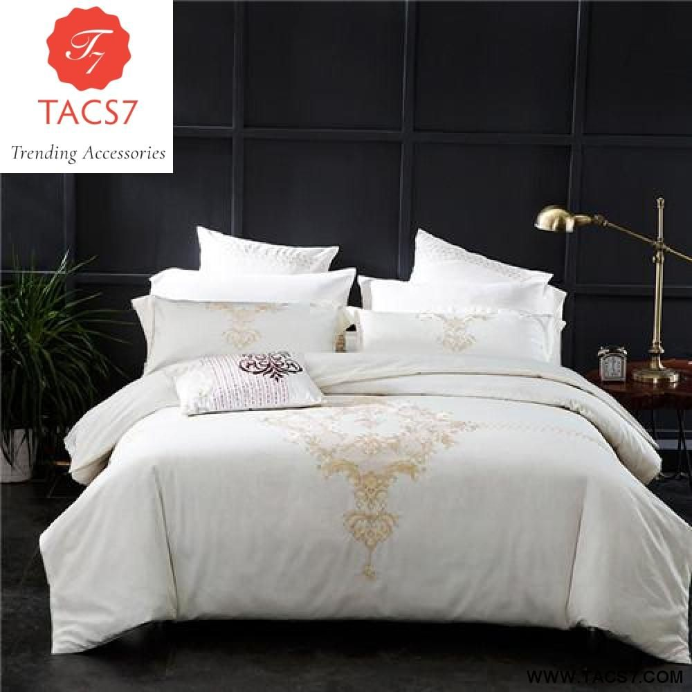 Luxury Bedding Sets Embroidery Long Stapled Cotton 4pcs Queen King