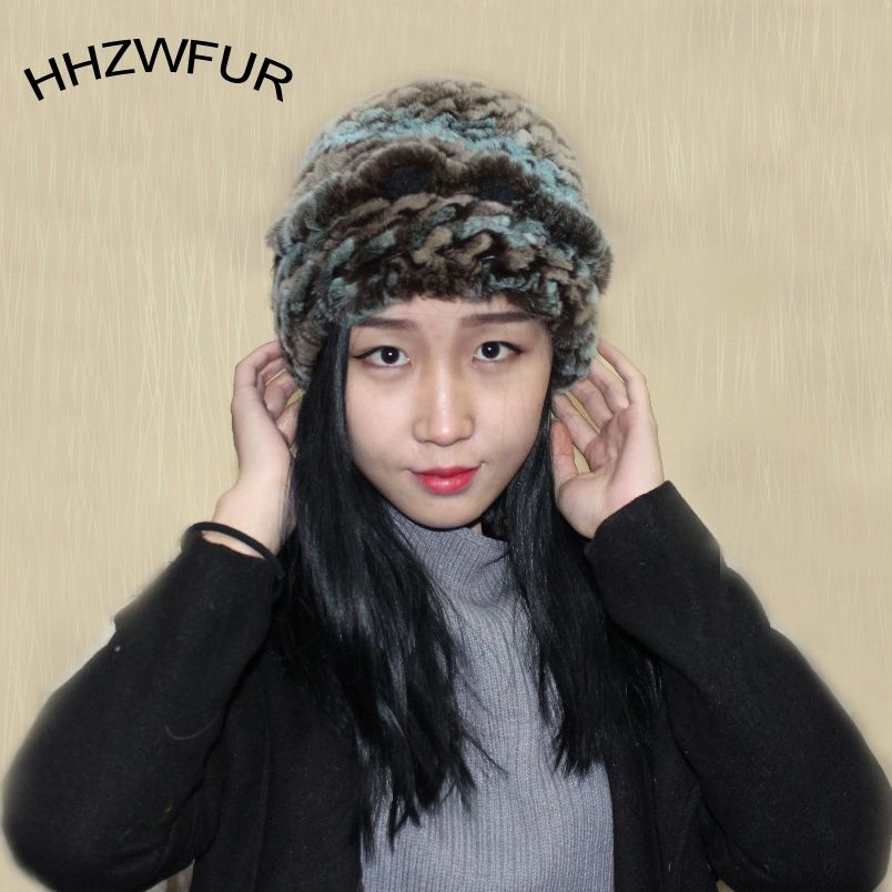 0b35748a372 Wholesale free shopping real rabbit fur hat fur female winter fur hair hat  muffler dual rabbit