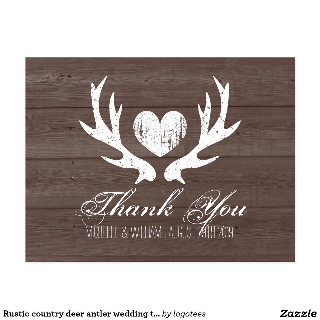 Rustic Country Deer Antler Wedding Thank You Cards Wedding Thank