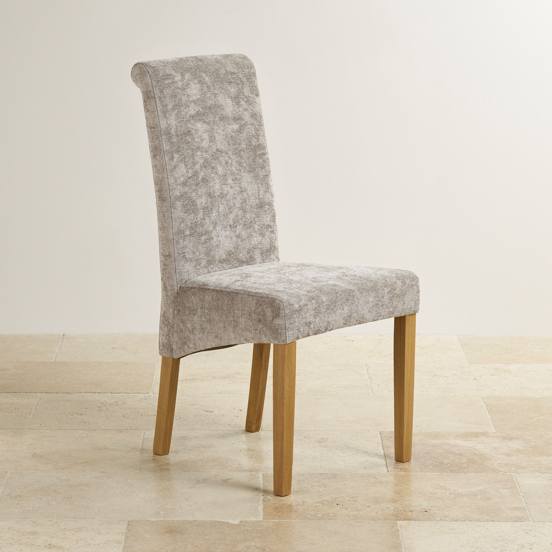 Scroll Back Truffle Fabric Chair With Solid Oak Legs Chair
