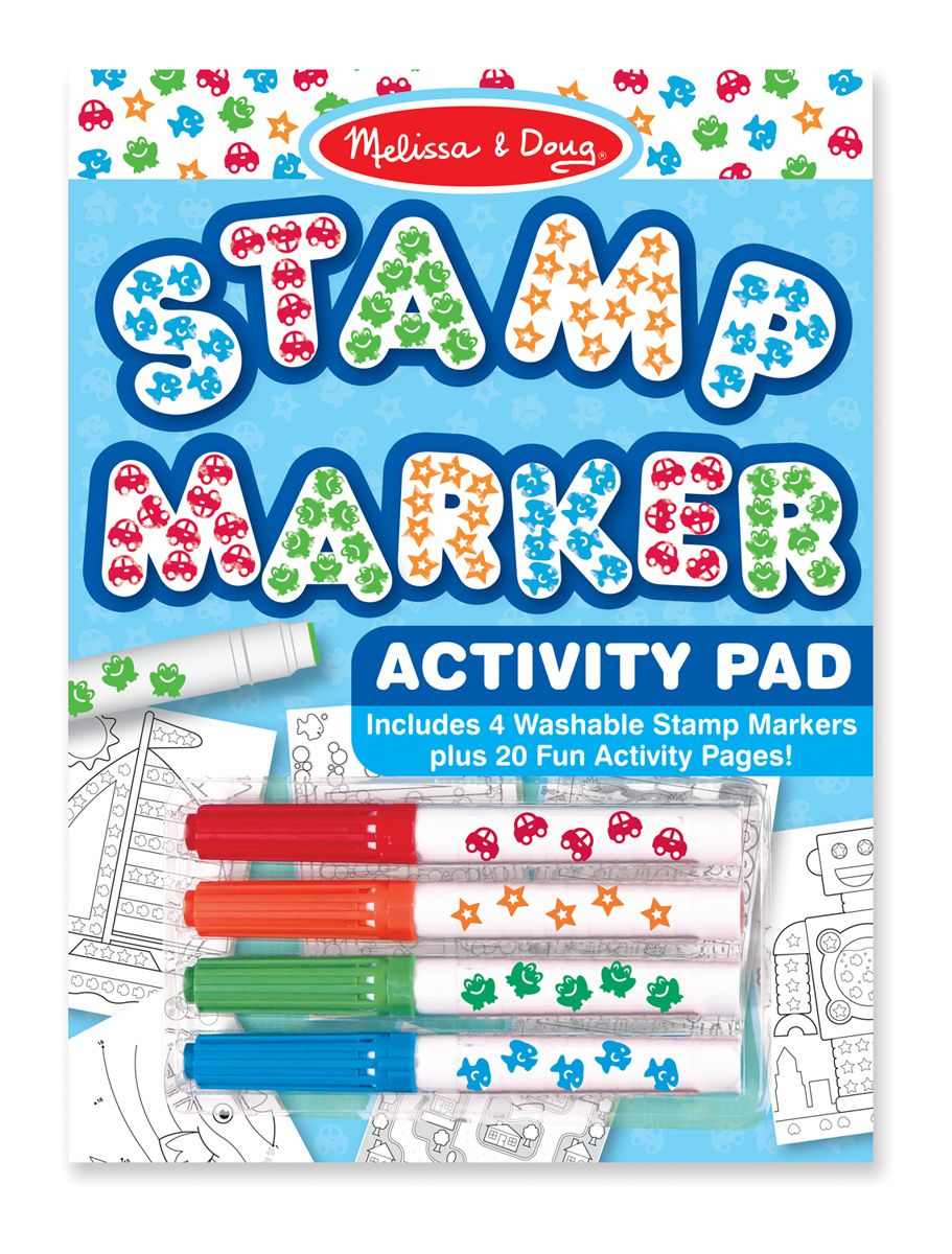 Stamp Marker Activity Pad - Blue : Use colorful stamp markers to complete 20 activities and games! Each activity pad includes mazes, connect-the-dots pictures, matching games, patterns to follow and counting challenges. The stamp markers come in four colorful shapes - orange star, green frog, red car and blue fish - and work on regular paper, too!Makes a perfect party favor, and an ideal rainy-day activity for girls and boys!