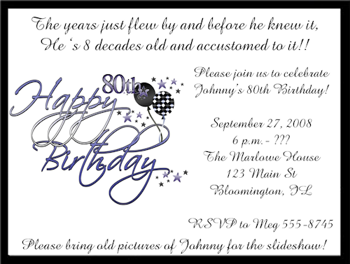 80th bday have to design by Wed Invitation Designs Pinterest
