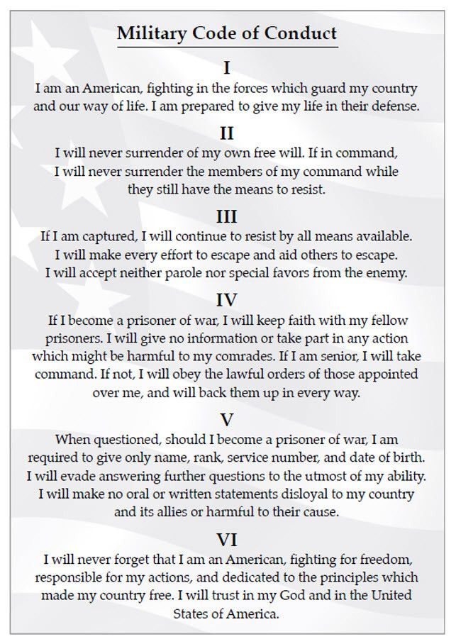 Pin By Leon Lee Ellis On Photos Military Code Of Conduct Code Of Conduct Military