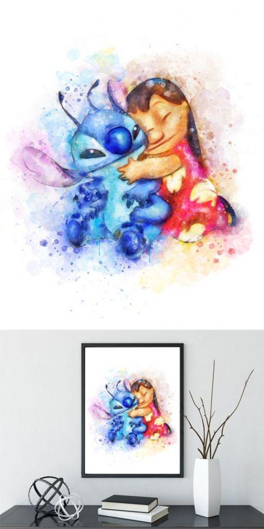 Stitch Lilo Stitch Disney Watercolor Art Print Instant