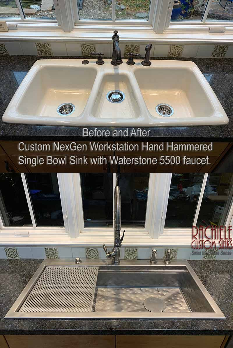 Replace A Triple Bowl Sink With A Single Bowl Workstation Hammered Stainless Custom Sink By Rachiele Www Rachiele Com Sink Custom Sinks Kitchen Design