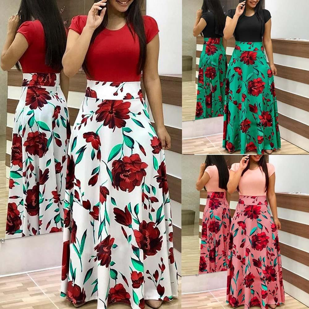 Womens fashion casual floral printed maxi dress short sleeve party