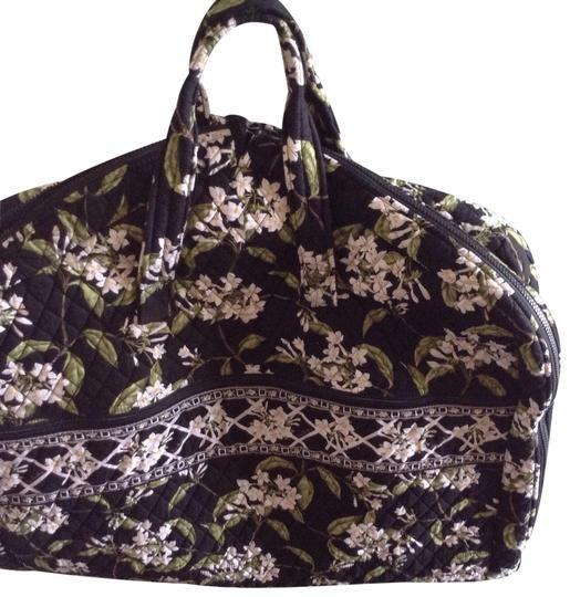 46686e1e5b22 Vera Bradley Iconic Rare Garment Black with Multicoloured Green Flowered  Design Cotton Weekend Travel