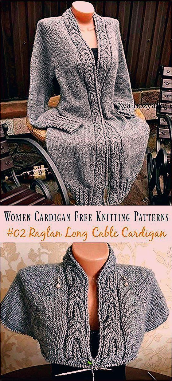 Raglan Knit Long Cable Cardigan Knitting Free Pattern ...