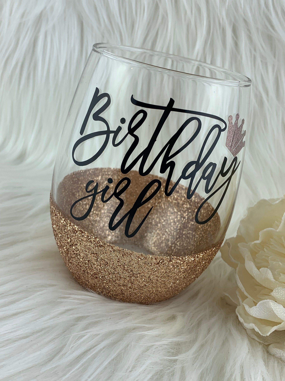 Birthday girl glitter wine glass birthday wine glass