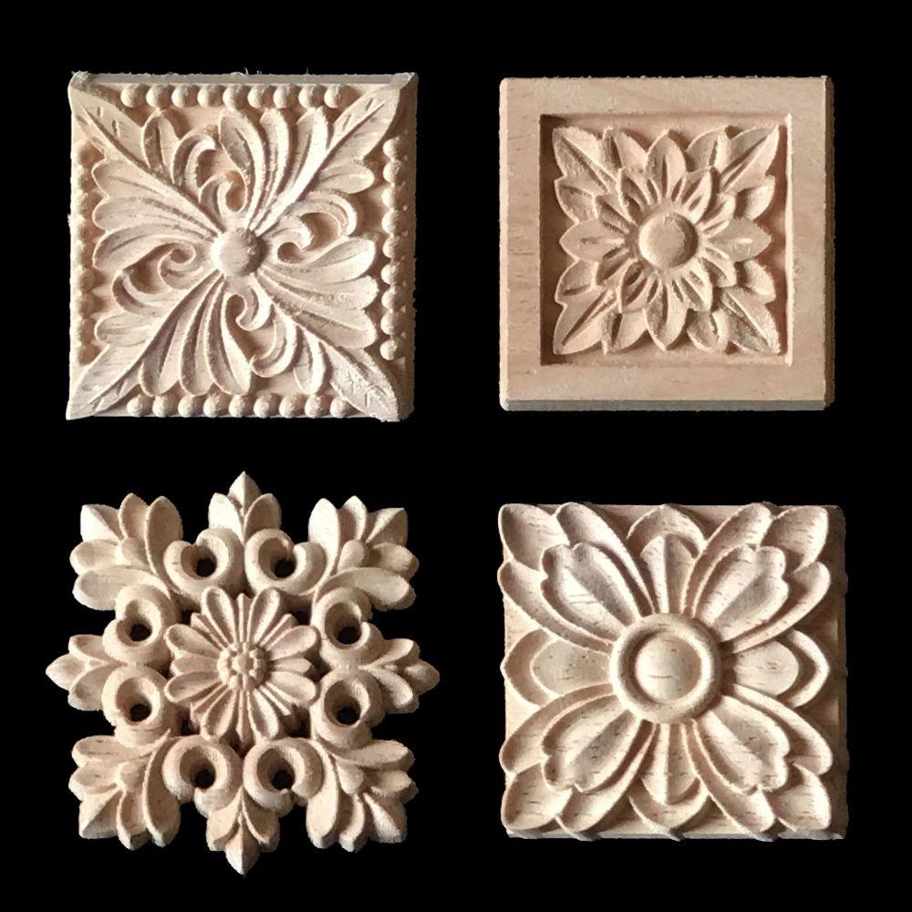 2017 Wood Carving Applique 5 Pcs Cabinet Door Furniture Decorative Appliques Flower Alphabet Carved Wood Appliques Wood Carving Wood Carving Designs