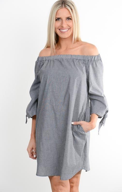 8d4ede0f5c26 Black Pinstripe Off Shoulder Dress