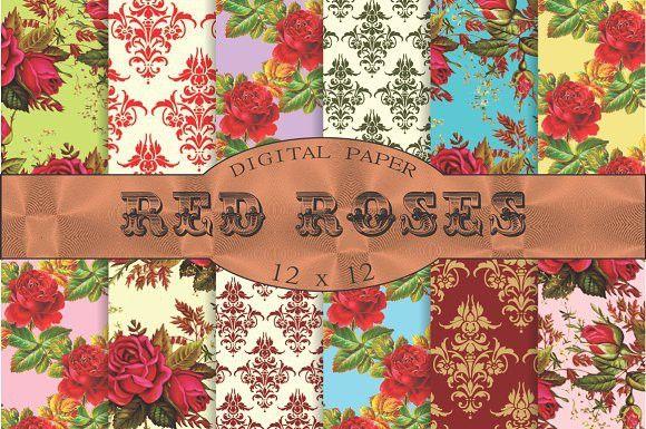 Red roses floral patterns. Patterns