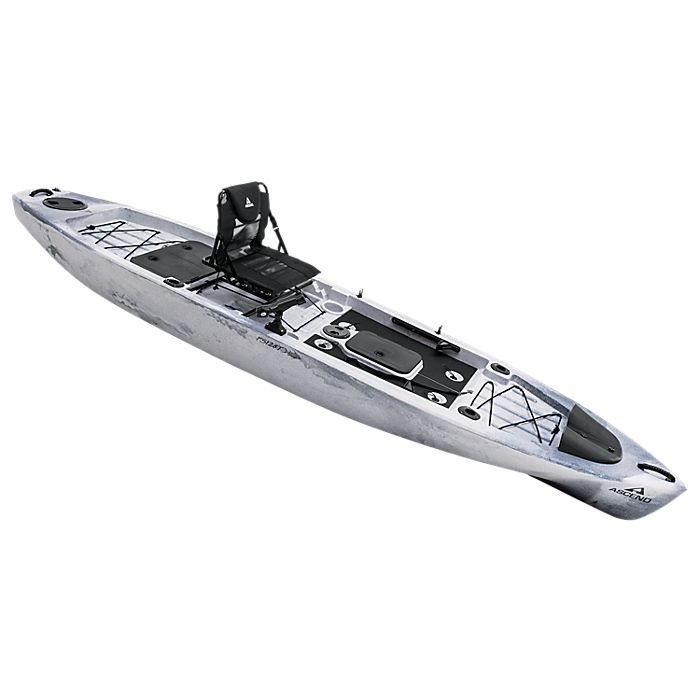 Ascend fs128t sit on top angler kayak white black bass for Best sit in fishing kayak
