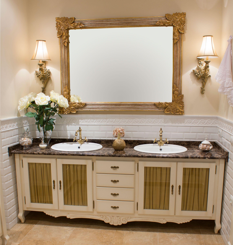 Mueble De Ba O R Stico A Medida Realizado Para Dos Lavabos  ~ Muebles De Baño A Medida Baratos