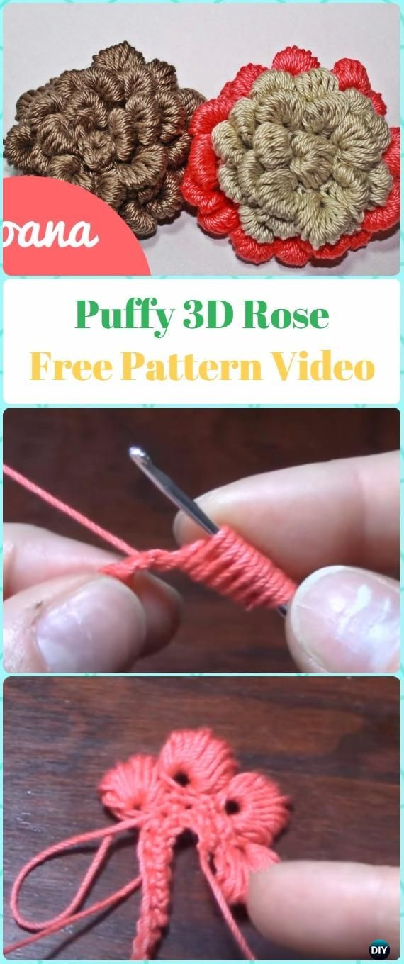 Crochet Puffy 3D Rose Flower Free Pattern Video - Crochet 3D Rose ...