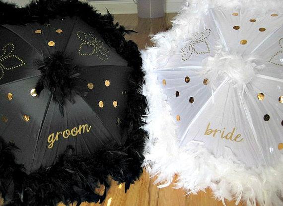 Second Line Umbrella Bride And Groom Mr Mrs Wedding Authentic New