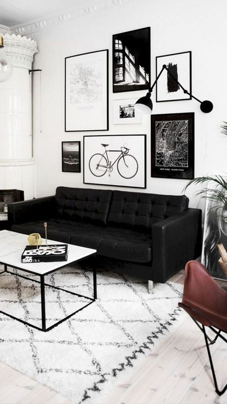 Black Aesthetic Decor To Make Your Home As Black As Your Soul In 2020 Black Sofa Living Room Decor Modern Living Room Black Black Living Room