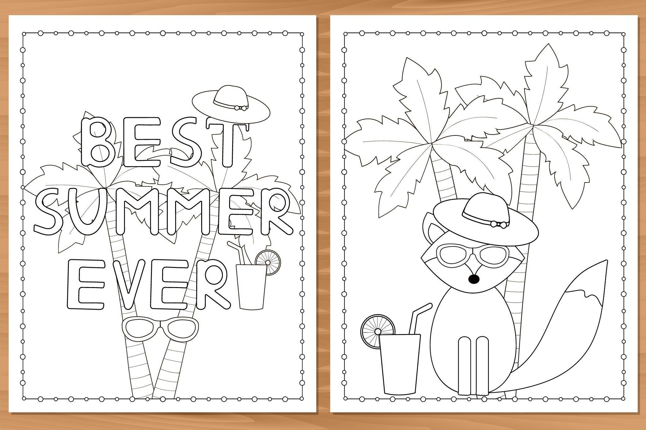 Summer 11 Printable Coloring Pages Instant Download In 2020 Coloring Pages Printable Coloring Pages Printable Coloring