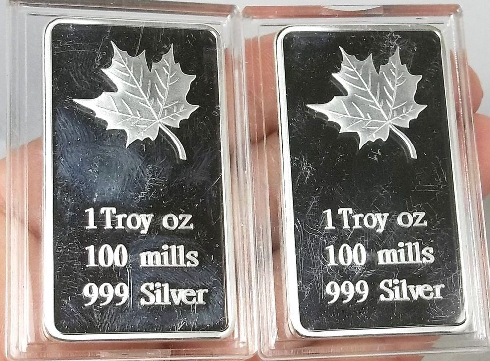 2 1 Troy Oz 100 Mills 999 Silver Plated Maple Leaf Art