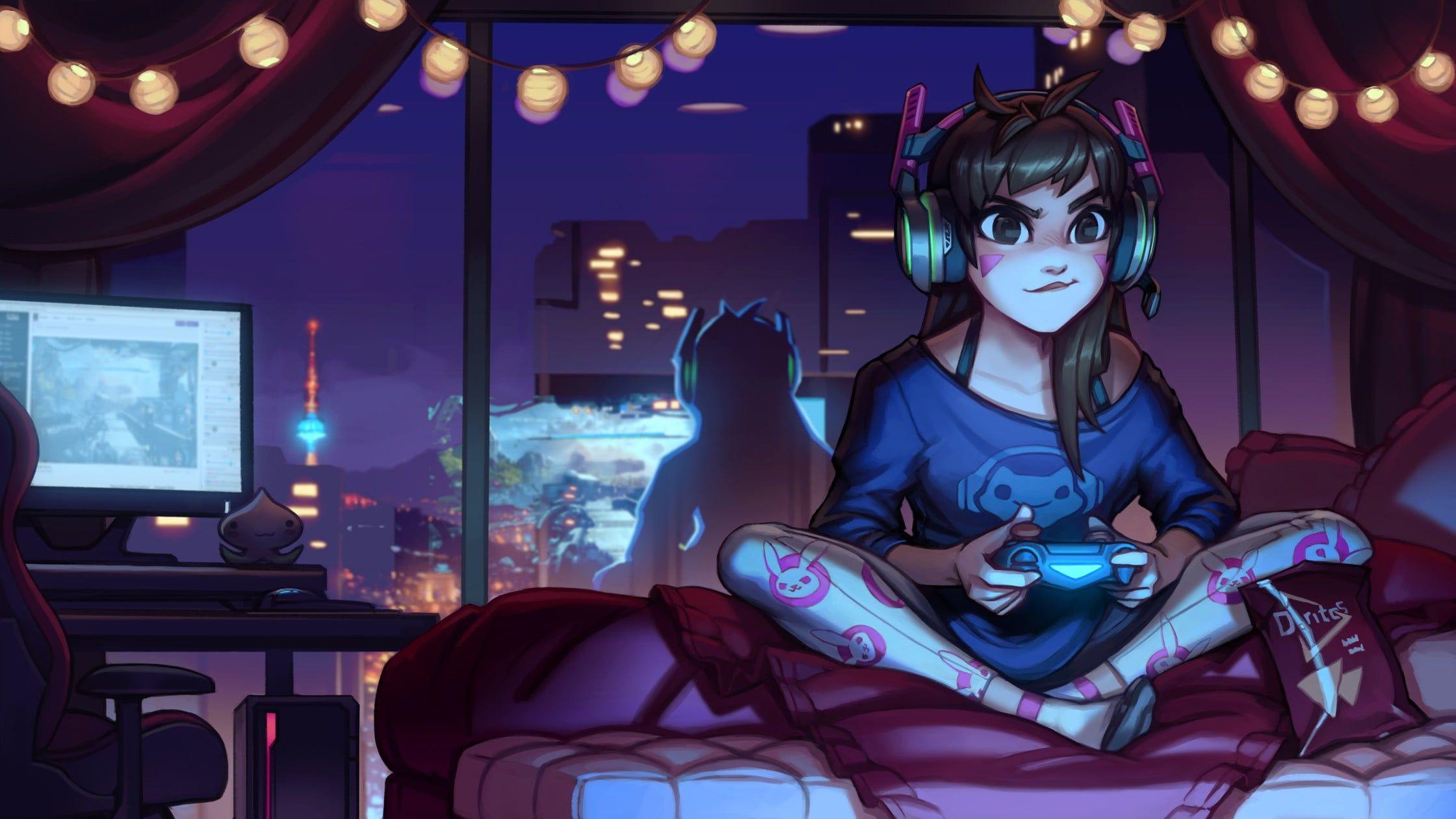 Girl Sitting On Bed Holding Game Controller Illustration