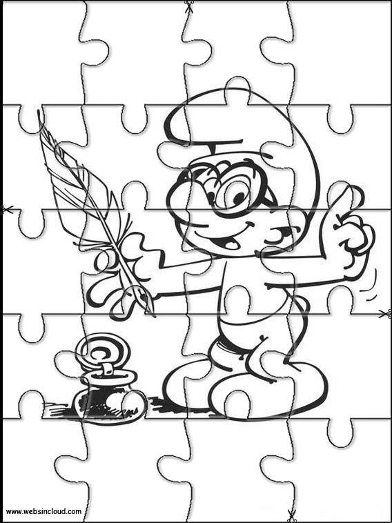 Actividades imprimibles Puzzles recortables para niños Pitufos 3 ...