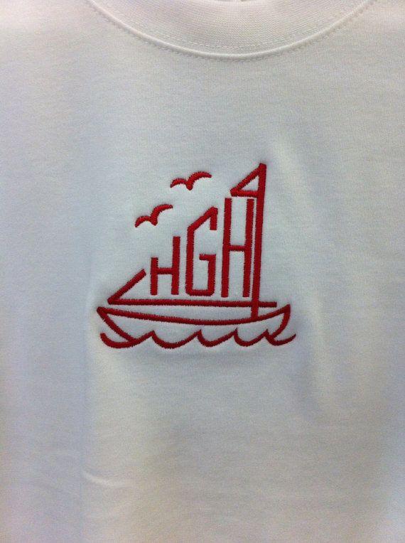 Sailboat font monogrammed shirt by henryandlainey on etsy