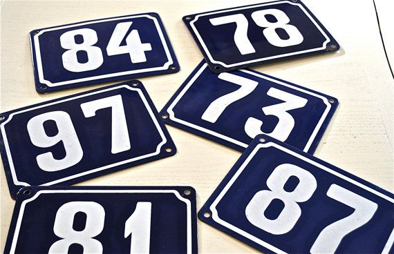 Antique French Handpainted Enamel House Number Plates Blue Etsy House Number Plates French Enamel French Vintage