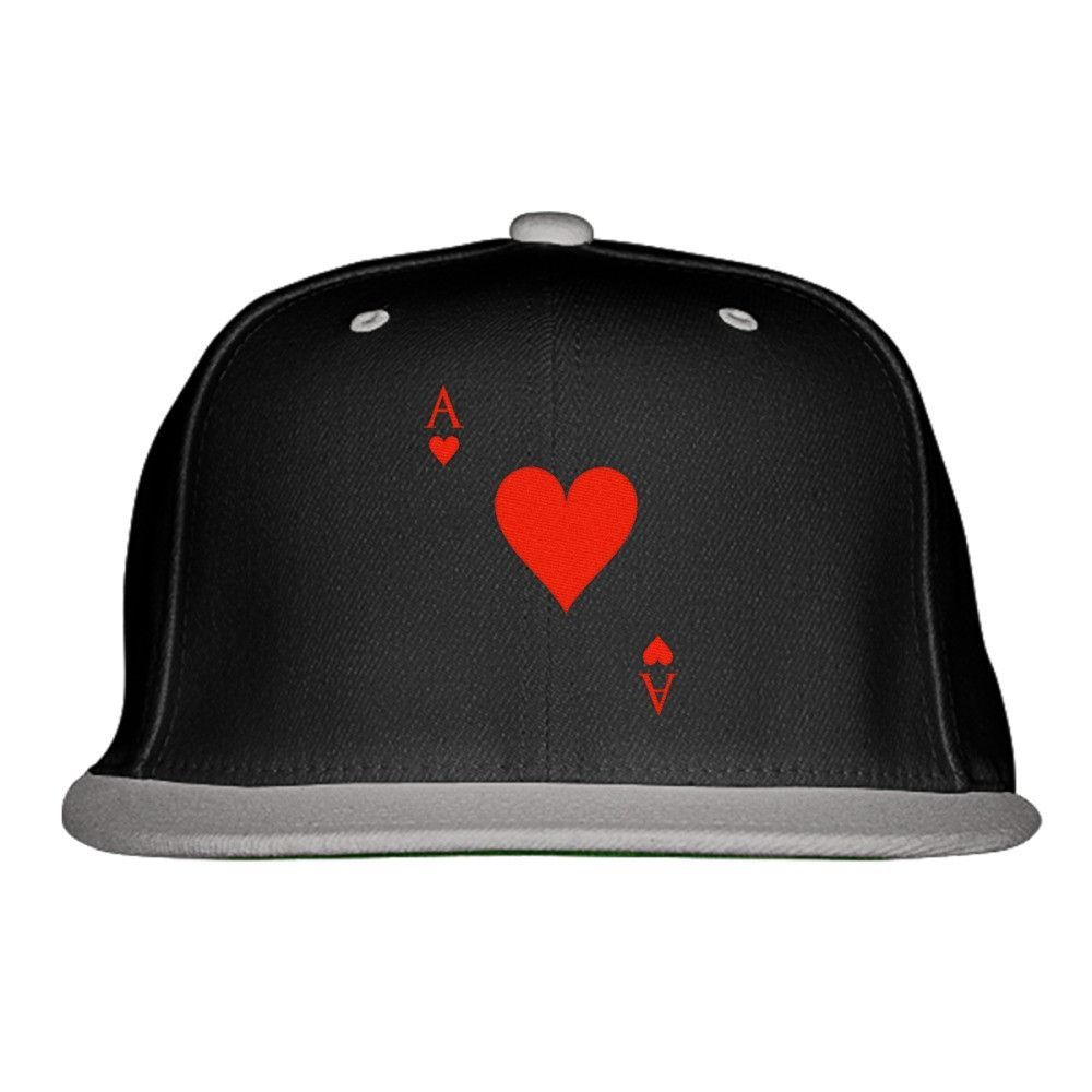 Ace Of Hearts Embroidered Snapback Hat