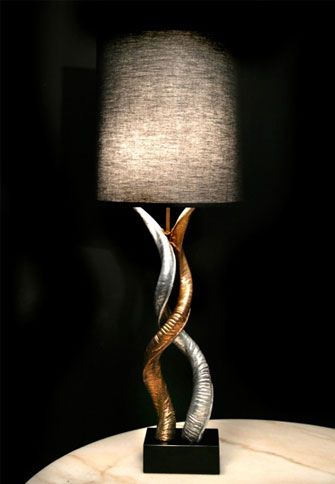 Kissing kudo horns table lamp by bernard figueroa light sculptures